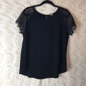 FREELOADER large lace sleeves black blouse